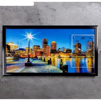 Часы-картина настенные, серия: город, ночной город и архитектура, 50х100