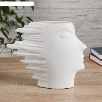 Ваза керамика настольная шанталь 5х26х21,5 см, белый