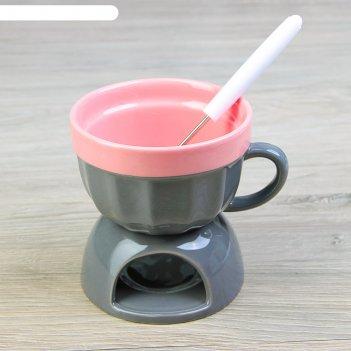 Набор для фондю сладкая чаша с вилочкой 15 см, цвет серо-розовый