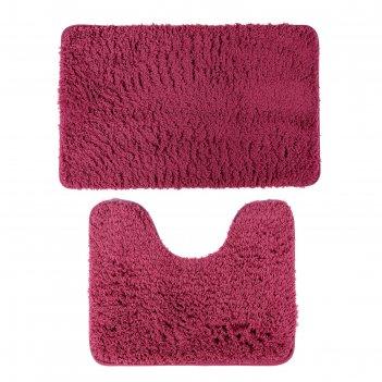 Набор ковриков для ванны и туалета «мягкий», 2 шт: 40x50, 50x80 см, цвет б