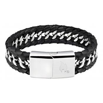 Браслет zippo, чёрный, нержавеющая сталь/натуральная кожа, 22x1,80x0,70 см