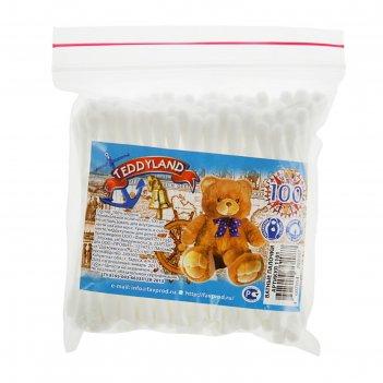 Ватные палочки teddyland, 100 шт. в пакете зип лок