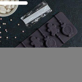 Форма для леденцов и мороженого «человечек, карамель», 6 ячеек, 23 x 9,5 с