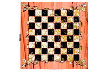 Шахматы из янтаря флора, тинео, янтарь, 42х42см