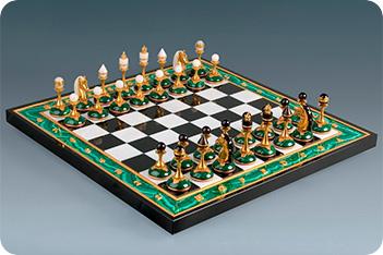 Шахматы из малахита 43х43 см