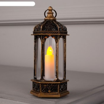 Фигура свет. ротонда бронзовая, 1 свеча 14х6.3х6.3 см, 1 led, 3хag13, т/бе
