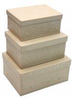 Набор из 3-х коробочек из папье-маше с тиснением, макс. 22,5 х 17 х 10 см