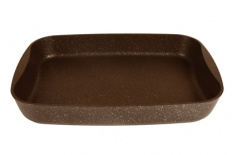 Противень  литой 40х29,5х5см кофейный мрамор тм kukmara