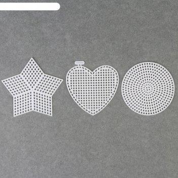 Канва для вышивания «ассорти», 3 шт, цвет белый