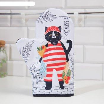 Варежка-прихватка доляна кот с покупками 24х32см,габардин, 35% х/л, 65% п/
