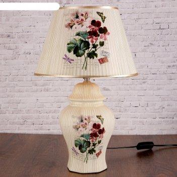 Лампа настольная керамика букет полевых цветов е27 220в 47х30х30 см
