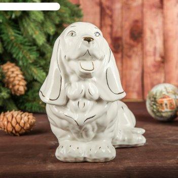 Статуэтка собака бигль, глянец, белая