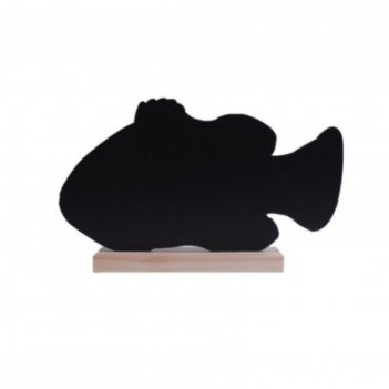 Табличка для надписей меловым маркером рыба, 329х186, цвет чёрный