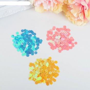 Пайетки для творчества цветочки, микс, 8 мм, 30 г