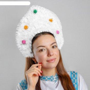 Кокошник на ободке мишура с помпонами, цвета микс