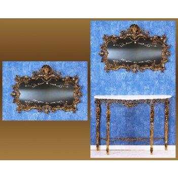 Зеркало из бронзы горизонтальное virtus золото 74х108см 8290