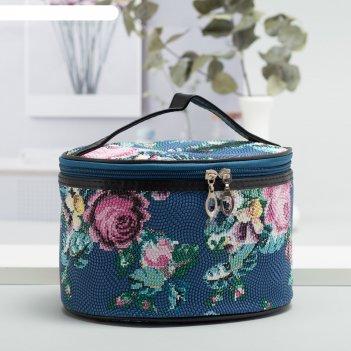 Косметичка-сундучок розы, 19,5*14,5*13, отд на молнии, зеркало, синий