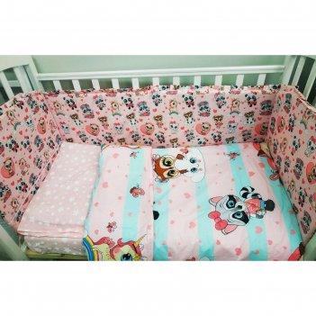 Комплект в кроватку 6пр. малыши девочки перкаль/холлкон хл100%