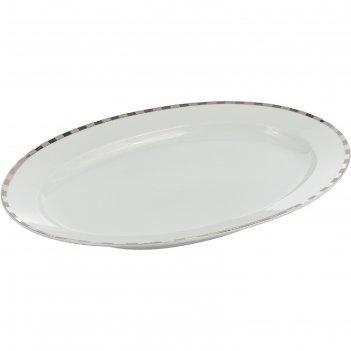 Блюдо овальное opal, 36 см, декор платиновые пластинки, отводка платина