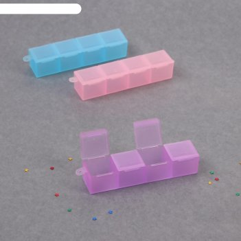 Контейнер для декора, 4 ячейки, 10 x 2 см, цвет микс