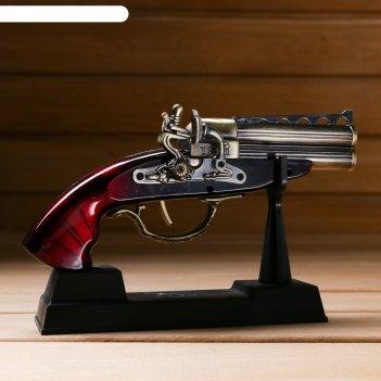 Сувенирное изделие на подставке, пистолет двухствольный 18х4х12