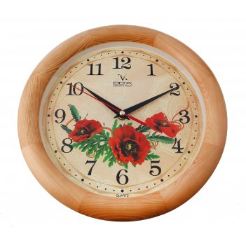 Часы настенные круглые мак, деревянные