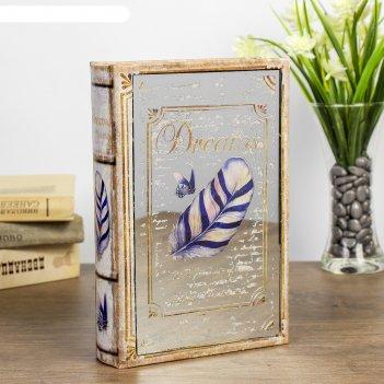 Сейф-книга дерево пёрышко. мечты кожзам, зеркальная 24х16х5 см