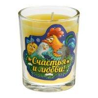 Свеча в стеклянном стаканчике счастья и любви
