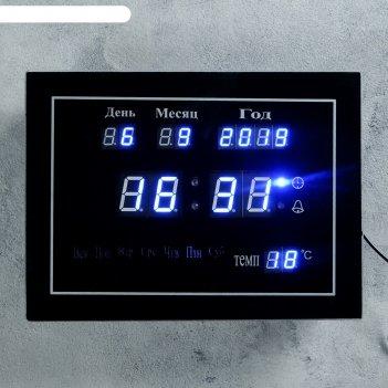 Часы настенные электронные, с термометром, будильником и календарём, цифры