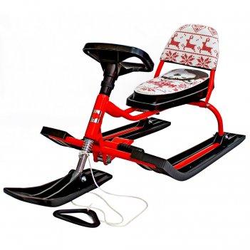 Снегокат 104 comfort хаски со складной спинкой (красный)