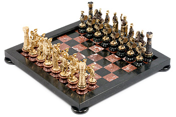 Шахматы римские на подставках бронза змеевик креноид 38х38см