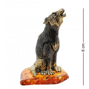 Am-1784 фигурка волк воющий (латунь, янтарь)