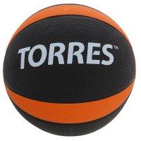 Медбол torres 2 кг, арт.al00222, резина, диаметр 19,5 см, черно-оранжево