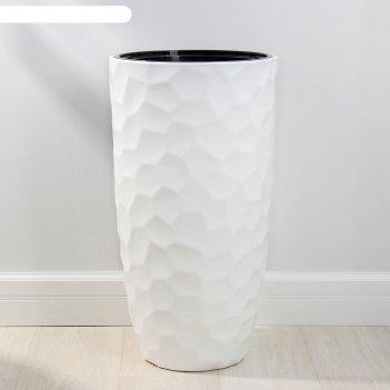 Кашпо со вставкой idea «мозаика», 42 л, вставка 9 л, цвет белый
