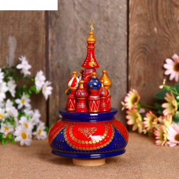 Сувенир-шкатулка музыкальная храм, 19х15,5 см, красно-синяя