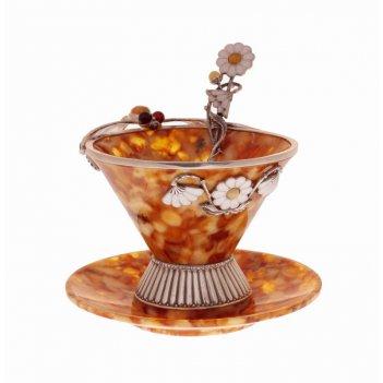 Чайный набор стрекоза из янтаря на 1 персону (ювелирная бронза)