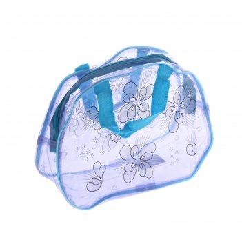 Косметичка-сумка банная цветочки, 2 ручки, цвет синий