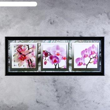 Часы-картина настенные, серия: цветы, орхидеи в черно-белой рамке, 35х100