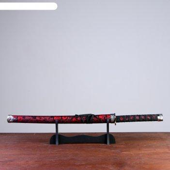 Катана сувенирная на подставке, черные ножны, красный узор дракона
