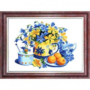 Канва с рисунком для вышивки крестом «натюрморт с персиками»