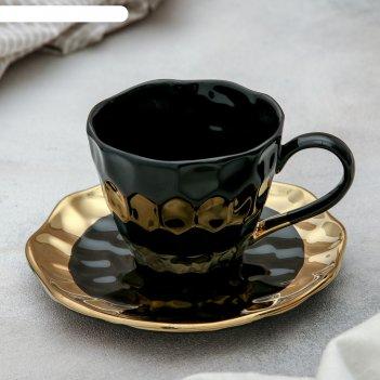 Чайная пара инь и ян: чашка 250 мл, блюдце 15 см, цвет чёрный