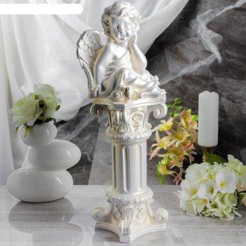 Статуэтка ангел на колонне (55см) перламутровая