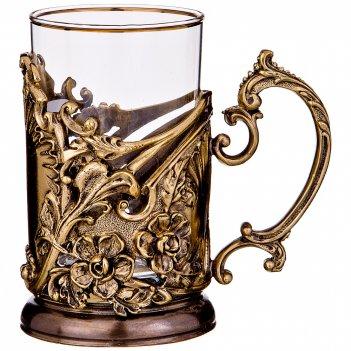 Подстаканник барокко латунь,жаропрочное стекло с позолоченной каемкой