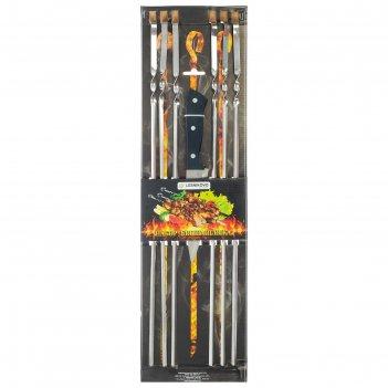 Шампуры уголком, 6 штук, толщина 1,5 мм, нож, размер 58,5 х 1 см