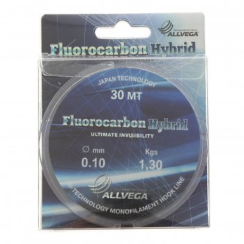 Леска allvega fluorocarbon hybrid 0.10 30м
