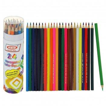 Карандаши 24 цвета в тубусе hw hong wei треугольные