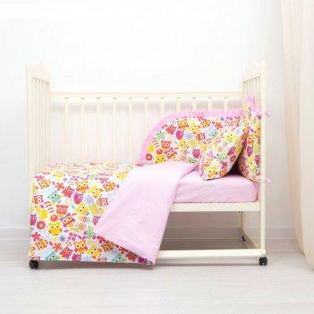 Комплект в кроватку (4 предмета), диз. совята с горошком на розовом,  синт