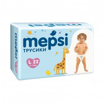 Детские подгузники-трусики mepsi размер l (9-16), 22 шт.