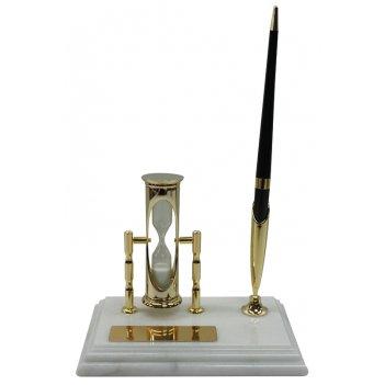 Настольный набор: ручка, песочные часы, 9х14,5х1,8 см, мрамор . 6138w