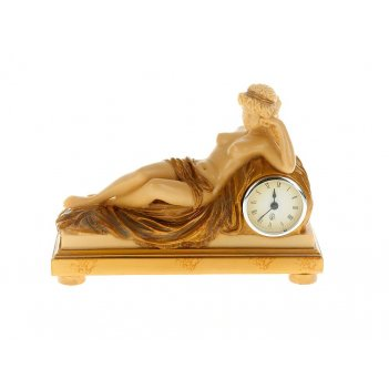Часы настольные юная дева 27,5*10,5*20см. (часы-d=6,5см., бата